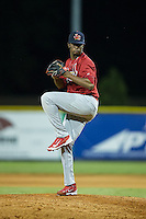 Johnson City Cardinals relief pitcher Frederis Parra (46) in action against the Burlington Royals at Burlington Athletic Park on August 22, 2015 in Burlington, North Carolina.  The Cardinals defeated the Royals 9-3. (Brian Westerholt/Four Seam Images)