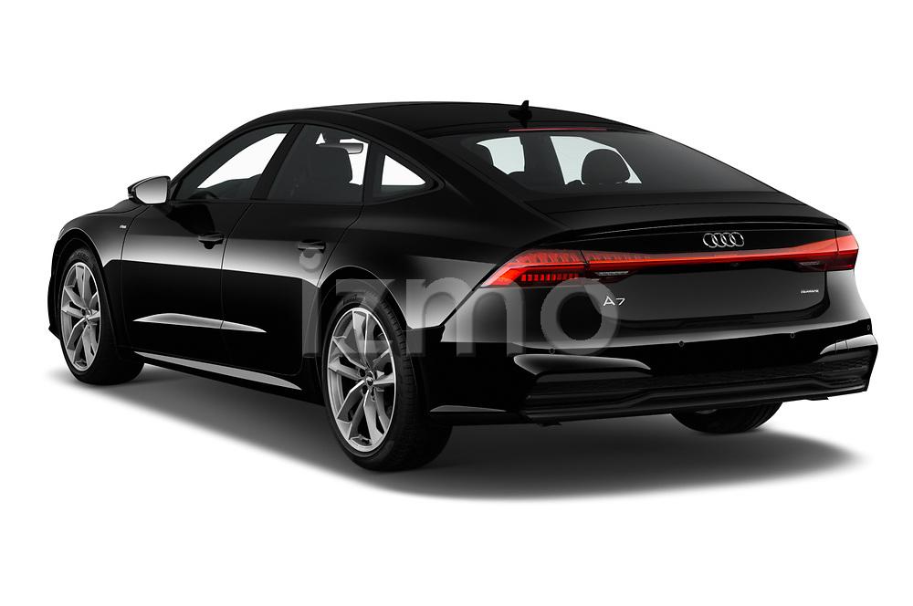 Car pictures of rear three quarter view of 2020 Audi A7 Premium-Plus 5 Door Hatchback Angular Rear