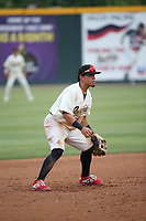 Jancarlos Cintron (3) of the Visalia Rawhide during a game against the Modesto Nuts at Recreation Ballpark on June 10, 2019 in Visalia, California. (Larry Goren/Four Seam Images)
