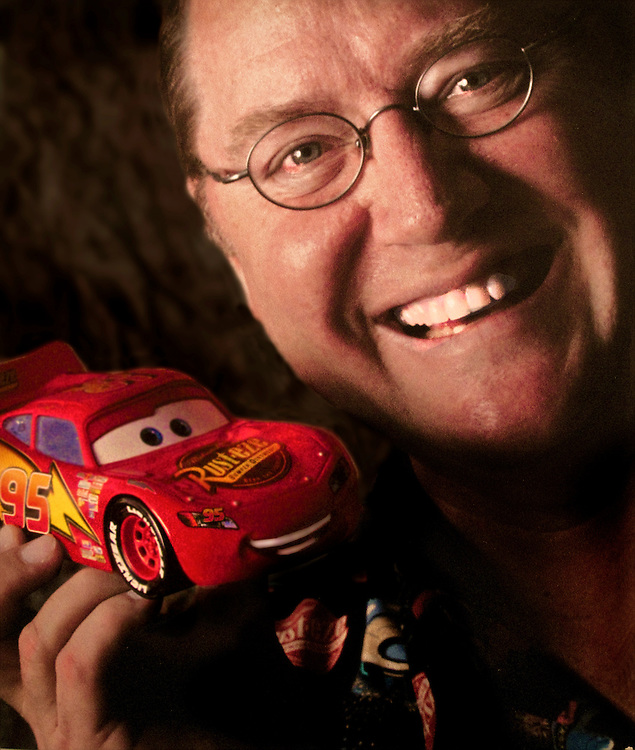 John Lasseter with an original model of Lightning McQueen, the main character in his movies CARS and CARS 2..Lasseter is the Chief Creative Officer at PIXAR and Walt Disney Animation Studios as well as Principal Creative Advisor at Walt Disney Imagineering..Lasseter has complete control over all animated films released by Disney Studios and even has a say in what kind of rides appear in Disney Theme Parks..He Directed Toy Story, A Bug's Life, Toy Story 2. He wrote and directed Cars and Cars 2..He has won two Academy Awards and has a star on the Hollywood Walk of Fame.