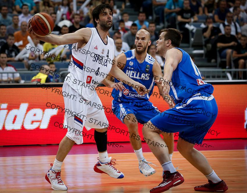 Kosarka-Basketball<br /> Srbija v Grcka-Prijateljski Mec<br /> Milos Teodosic (L) Nick Calathes (C)<br /> Beograd, 28.06.2016.<br /> foto: Srdjan Stevanovic/Starsportphoto ©