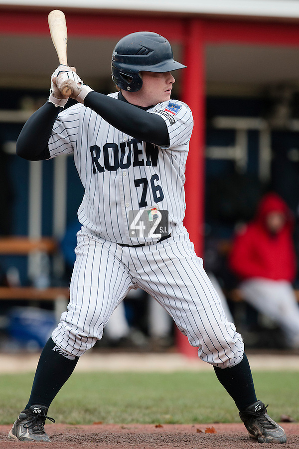 23 October 2010: David Gauthier of Rouen is seen at bat during Savigny 8-7 win (in 12 innings) over Rouen, during game 3 of the French championship finals, in Rouen, France.