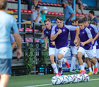 Luca Lissens (4) of Anderlecht (R) sprinting during the warm up before a friendly soccer game between K Londerzeel SK and RSC Anderlecht Reserves during the preparations for the 2021-2022 season , on Wednesday 21st of July 2021 in Londerzeel , Belgium . PHOTO SEVIL OKTEM   SPORTPIX