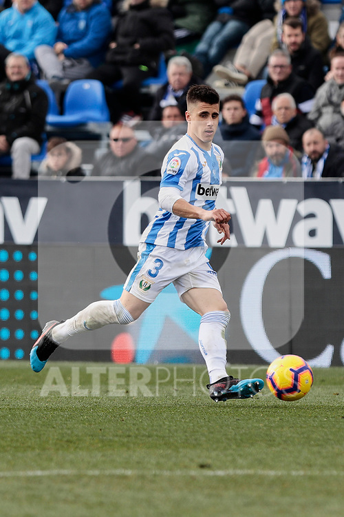 CD Leganes's Unai Bustinza during La Liga match between CD Leganes and Real Betis Balompie at Butarque Stadium in Madrid, Spain. February 10, 2019. (ALTERPHOTOS/A. Perez Meca)