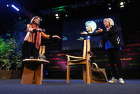 Saturday 24 May 2014, Hay on Wye UK<br /> Pictured: Jennifer Saunders (R) on stage with Francine Stock (L).<br /> Re: The Telegraph Hay Festival, Hay on Wye, Powys, Wales UK.