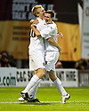 05/08/2010   Copyright  Pic : James Stewart.sct_jsp014_Motherwell_v_Aalesund  .::  JONATHAN PAGE CELEBRATES WITH JAMIE MURPHY AFTER HE SCORES THE THIRD::  .James Stewart Photography 19 Carronlea Drive, Falkirk. FK2 8DN      Vat Reg No. 607 6932 25.Telephone      : +44 (0)1324 570291 .Mobile              : +44 (0)7721 416997.E-mail  :  jim@jspa.co.uk.If you require further information then contact Jim Stewart on any of the numbers above.........