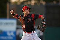 Batavia Muckdogs third baseman Denis Karas (25) warmup throw to first base during a game against the Auburn Doubledays on August 26, 2017 at Dwyer Stadium in Batavia, New York.  Batavia defeated Auburn 5-4.  (Mike Janes/Four Seam Images)