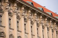 Europe/République Tchèque/Prague:Détail Façade Palais Cernin,  Ministère des affaires étrangères à coté Notre-Dame-de-Lorette- quartier Hradcany