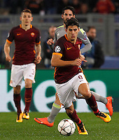 Calcio, andata degli ottavi di finale di Champions League: Roma vs Real Madrid. Roma, stadio Olimpico, 17 febbraio 2016.<br /> Roma's Diego Perotti in action during the first leg round of 16 Champions League football match between Roma and Real Madrid, at Rome's Olympic stadium, 17 February 2016.<br /> UPDATE IMAGES PRESS/Riccardo De Luca