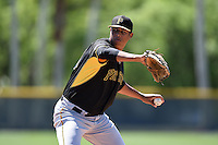 Pittsburgh Pirates pitcher Angel Sanchez (83) during a minor league spring training intrasquad game on March 30, 2014 at Pirate City in Bradenton, Florida.  (Mike Janes/Four Seam Images)