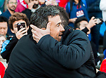 Coach Diego Simeone of Atletico de Madrid greets coach Luis Enrique Martinez Garcia of FC Barcelona prior to the La Liga match between Atletico de Madrid and FC Barcelona at the Santiago Bernabeu Stadium on 26 February 2017 in Madrid, Spain. Photo by Diego Gonzalez Souto / Power Sport Images