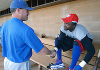 Spartanburg Methodist College grads Orlando Hudson, a Major League All-Star and Gold Glove winner, shakes hands with SMC head coach Tim Wallace before practice with the SMC baseball team Jan. 19, 2010. Hudson was later signed by the Minnesota Twins on Feb. 4. Photo by: Tom Priddy/Four Seam Images