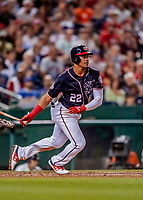 21 September 2018: Washington Nationals outfielder Juan Soto in action against the New York Mets at Nationals Park in Washington, DC. The Mets defeated the Nationals 4-2 in the second game of their 4-game series. Mandatory Credit: Ed Wolfstein Photo *** RAW (NEF) Image File Available ***