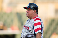 Tommy Thompson (32) of the Kannapolis Intimidators coaches third base during the game against the West Virginia Power at Kannapolis Intimidators Stadium on July 21, 2017 in Kannapolis, North Carolina.  (Brian Westerholt/Four Seam Images)