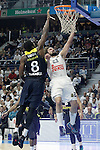 Real Madrid's Sergio Llull (r) and Fenerbahce Istambul's Ekpe Udoh during Euroleague Quarter-Finals 3rd match. April 19,2016. (ALTERPHOTOS/Acero)
