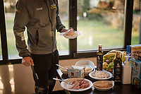 at the Mitchelton-Scott team hotel; 300km of racing calls for a carb-loading breakfast<br /> <br /> 110th Milano-Sanremo 2019 (ITA)<br /> One day race from Milano to Sanremo (291km)<br /> <br /> ©kramon