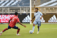 KANSAS CITY, KS - SEPTEMBER 02: Gianluca Busio #27 of Sporting Kansas City on the ball during a game between FC Dallas and Sporting Kansas City at Children's Mercy Park on September 02, 2020 in Kansas City, Kansas.