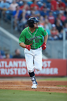 Lucas Duda (52) of the Gwinnett Stripers hustles down the first base line against the Scranton/Wilkes-Barre RailRiders at Coolray Field on August 16, 2019 in Lawrenceville, Georgia. The Stripers defeated the RailRiders 5-2. (Brian Westerholt/Four Seam Images)