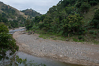 Haiti, Gros-Morne. View of hills and river.