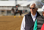 May 17, 2012 Morning track and barn scenes from Pimlico race course. Trainer Bob Baffert watches as his Preakness contender, Bodemeister, gallops on the  Pimlico track Thursday morning. Photo by Joan Fairman Kanes. Baltimore, Maryland