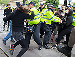 © Joel Goodman - 07973 332324 - all rights reserved . 03/06/2017 . Liverpool , UK . Police and anti fascists clash . Hundreds of police manage a demonstration by the far-right street protest movement , the English Defence League ( EDL ) and an demonstration by opposing anti-fascists , including Unite Against Fascism ( UAF ) . Photo credit : Joel Goodman