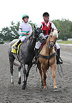 4 July 2010: INFORMED DECISION with jockey Julian Leparoux comes back to the winner's circle after winning the 22nd running of the G3 Chicago Handicap at Arlington Park in Arlington Heights, Illinois.