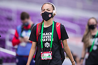 ORLANDO, FL - FEBRUARY 24: Julia Grosso #7 of the CANWNT walks into the stadium before a game between Brazil and Canada at Exploria Stadium on February 24, 2021 in Orlando, Florida.