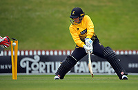 Thamsyn Newton is bowled during the women's Hallyburton Johnstone Shield one-day cricket match between the Wellington Blaze and Northern Districts at the Basin Reserve in Wellington, New Zealand on Sunday, 22 November 2020. Photo: Dave Lintott / lintottphoto.co.nz