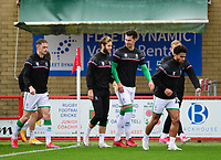 (Left to right) Lincoln City's Theo Archibald, Jorge Grant, Lewis Montsma and Liam Bridcutt during the pre-match warm-up<br /> <br /> Photographer Andrew Vaughan/CameraSport<br /> <br /> The EFL Sky Bet League One - Accrington Stanley v Lincoln City - Saturday 21st November 2020 - Crown Ground - Accrington<br /> <br /> World Copyright © 2020 CameraSport. All rights reserved. 43 Linden Ave. Countesthorpe. Leicester. England. LE8 5PG - Tel: +44 (0) 116 277 4147 - admin@camerasport.com - www.camerasport.com