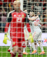 Spain's Saul Niguez, Isco Alarcon and Marco Asensio celebrate goal during international friendly match. March 27,2018.(ALTERPHOTOS/Acero) /NortePhoto.com NORTEPHOTOMEXICO