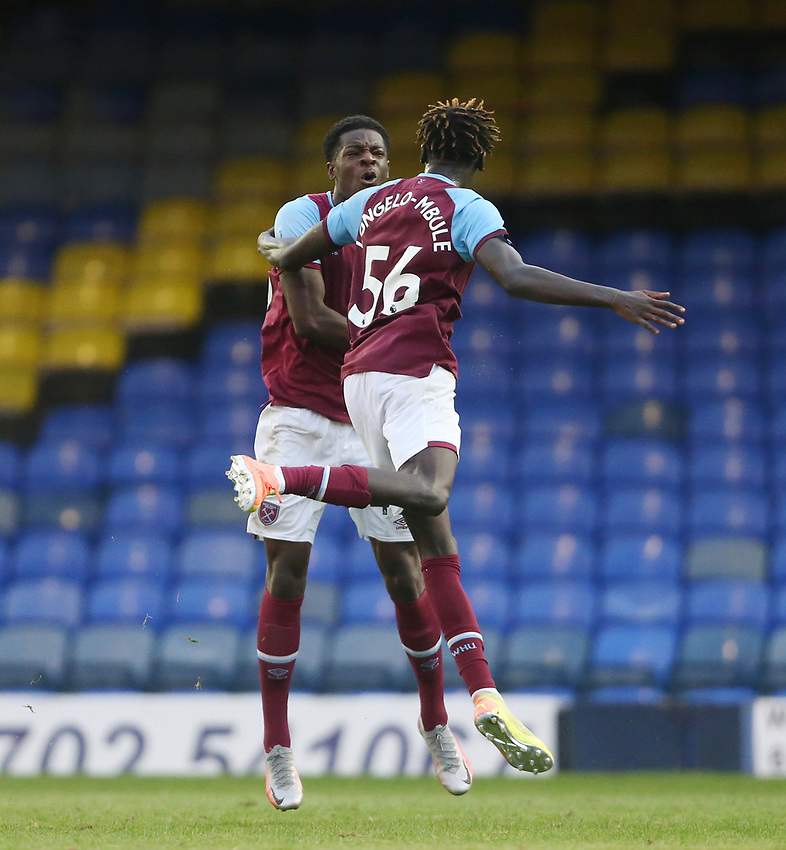West Ham United's Ademipo Odubeko celebrates scoring his side's second goal with Emmanuel Longelo<br /> <br /> Photographer Rob Newell/CameraSport<br /> <br /> EFL Trophy Southern Section Group A - Southend United v West Ham United U21 - Tuesday 8th September 2020 - Roots Hall - Southend-on-Sea<br />  <br /> World Copyright © 2020 CameraSport. All rights reserved. 43 Linden Ave. Countesthorpe. Leicester. England. LE8 5PG - Tel: +44 (0) 116 277 4147 - admin@camerasport.com - www.camerasport.com