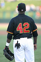 April 15th 2008:  Infielder Tommy Watkins of the Rochester Red Wings, Class-AAA affiliate of the Minnesota Twins, wears #42 in honor of Jackie Robinson during a game at Frontier Field in Rochester, NY.  Photo by:  Mike Janes/Four Seam Images
