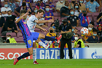 14th September 2021; Nou Camp, Barcelona, Spain; UEFA Champions league, FC Barcelona versus Bayern;   Muller shoots past Jordi Alba