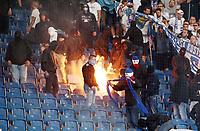 Rostocker Fans burn Hertha Flag<br /> / Sport / Fußball Fussball / DFB Pokal 1. Runde 3.Liga Bundesliga / Saison 2017/2018 / 14.08.2017 / FC Hansa Rostock FCH vs. Hertha BSC Berlin *** Local Caption *** © pixathlon +++ tel. +49 - (040) - 22 63 02 60 - mail: info@pixathlon.de