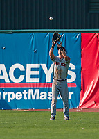 20 August 2017: Connecticut Tigers outfielder Luke Burch, a 9th round draft pick for the Detroit Tigers, pulls in a fly ball during a game against the Vermont Lake Monsters at Centennial Field in Burlington, Vermont. The Lake Monsters rallied to edge out the Tigers 6-5 in 13 innings of NY Penn League action.  Mandatory Credit: Ed Wolfstein Photo *** RAW (NEF) Image File Available ***