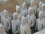 Terracotta Warriors buried with the Emperor of Qin in 209-210 BC in Xian, China.