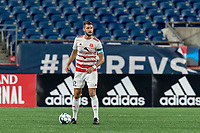 FOXBOROUGH, MA - AUGUST 21: Kyle Venter #12 of Richmond Kickers looks to pass during a game between Richmond Kickers and New England Revolution II at Gillette Stadium on August 21, 2020 in Foxborough, Massachusetts.