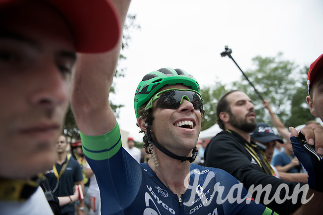 A happy Michael Matthews (AUS/Orica-BikeExchange) seeing his teammate Luke Durbridge crossing the finish line after having won stage 10 of the 2016 Tour de France