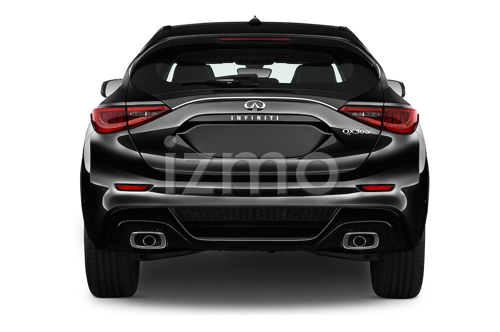 Straight rear view of 2018 Infiniti QX30 Sport 5 Door SUV Rear View  stock images