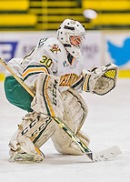 1 February 2015: University of Vermont Catamount Goaltender Madison Litchfield, a Sophomore from Williston, VT, in first period action against the visiting Providence College Friars at Gutterson Fieldhouse in Burlington, Vermont. The Lady Cats defeated the Friars 7-3 in Hockey East play. Mandatory Credit: Ed Wolfstein Photo *** RAW (NEF) Image File Available ***