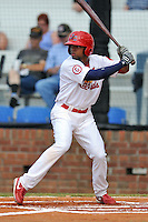 Johnson City Cardinals  center fielder Vaughn Bryan #23 awaits a pitch during a game against the Danville Braves at Howard Johnson Field on June 23, 2013 in Johnson City, Tennessee. The Cardinals won the game 5-4. (Tony Farlow/Four Seam Images)