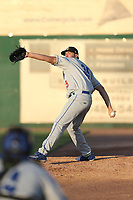 Alex Hermeling (35) of the Rancho Cucamonga Quakes warms up in the bullpen during a game against the Inland Empire 66ers at San Manuel Stadium on July 29, 2017 in San Bernardino, California. Inland Empire defeated Rancho Cucamonga, 6-4. (Larry Goren/Four Seam Images)