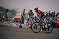 Franco Pellizotti (ITA/Bahrain-Merida) up the brutal Col du Portet (HC/2250m/16km at 8.7%/Souvenir Henri Desgrange) in this historically short stage (only 65km)<br /> <br /> Stage 17: Bagnères-de-Luchon > Saint-Lary-Soulan (65km)<br /> <br /> 105th Tour de France 2018<br /> ©kramon