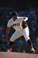 SAN FRANCISCO, CA - SEPTEMBER 19:  Kervin Castro #76 of the San Francisco Giants pitches against the Atlanta Braves during the game at Oracle Park on Sunday, September 19, 2021 in San Francisco, California. (Photo by Brad Mangin)