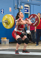 23 FEB 2014 - SMETHWICK, GBR - Sarah Davies (ENG / GBR) of Great Britain and England, a former Miss England contestant, attempts a lift during the women's 63kg category round at the 2014 English Weightlifting Championships at the Harry Mitchell Leisure Centre in Smethwick, Great Britain. Davies'  final total of 190kg makes her eligible for selection for the England weightlifting team for the 2014 Commonwealth Games  (PHOTO COPYRIGHT © 2014 NIGEL FARROW, ALL RIGHTS RESERVED)