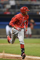 Williamsport Crosscutters outfielder Jose Pujols (33) runs to first during a game against the Batavia Muckdogs on August 26, 2014 at Dwyer Stadium in Batavia, New York.  Williamsport defeated Batavia 8-1.  (Mike Janes/Four Seam Images)