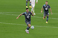 ST PAUL, MN - SEPTEMBER 27: Michael Boxall #15 of Minnesota United FC attacks the ball during a game between Real Salt Lake and Minnesota United FC at Allianz Field on September 27, 2020 in St Paul, Minnesota.