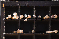 The bat rack in the Carolina Mudcats dugout at Five County Stadium in Zebulon, NC, Wednesday, July 18, 2007.