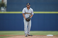 Charleston RiverDogs starting pitcher Ian Seymour (34) looks to his catcher for the sign against the Kannapolis Cannon Ballers at Atrium Health Ballpark on July 1, 2021 in Kannapolis, North Carolina. (Brian Westerholt/Four Seam Images)