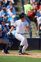 New York Yankees first baseman Greg Bird (33) flies out during a Grapefruit League Spring Training game against the Toronto Blue Jays on February 25, 2019 at George M. Steinbrenner Field in Tampa, Florida.  Yankees defeated the Blue Jays 3-0.  (Mike Janes/Four Seam Images)